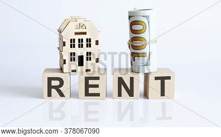 Wooden Blocks With The Word For Rent Real Estate Concept. Rent Apartment. Property.