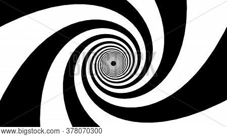 Black And White Stripes Form A Hypnotic Funnel, Computer Generated. 3d Rendering Of Dynamic Backgrou