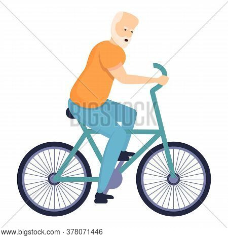 Bicycle Senior Man Icon. Cartoon Of Bicycle Senior Man Vector Icon For Web Design Isolated On White
