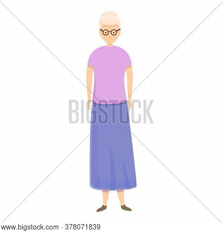 Retired Woman Icon. Cartoon Of Retired Woman Vector Icon For Web Design Isolated On White Background