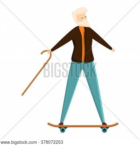 Senior Man On Skateboard Icon. Cartoon Of Senior Man On Skateboard Vector Icon For Web Design Isolat