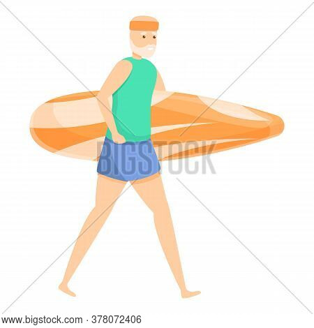 Surfer Old Man Icon. Cartoon Of Surfer Old Man Vector Icon For Web Design Isolated On White Backgrou