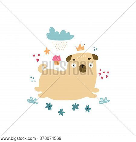 Cute Little Colorful Pug In Doodle Style. Hand Drawn Vector Illustration Good For Nursery Design For