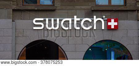 Swatch Store In Geneva In Switzerland - City Of Geneva, Switzerland - July 8, 2020