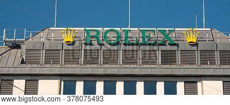 Rolex Logo In Geneva In Switzerland - City Of Geneva, Switzerland - July 8, 2020