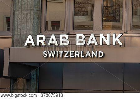 Arab Bank In Geneva In Switzerland - City Of Geneva, Switzerland - July 8, 2020