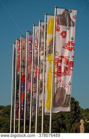 Swiss Life Flags In Geneva In Switzerland - City Of Geneva, Switzerland - July 8, 2020