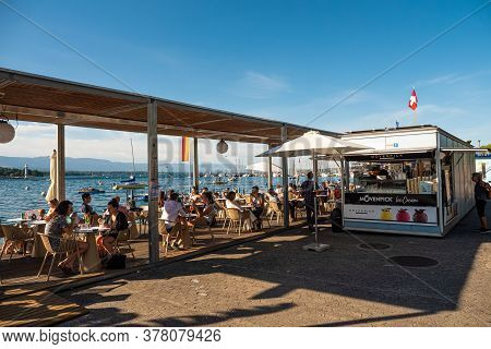 Lakefront Ice Cafe In Geneva In Switzerland - City Of Geneva, Switzerland - July 8, 2020