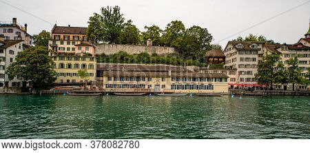Historic District And River Limmat Of Zurich In Switzerland - Zurich, Switzerland - July 15, 2020