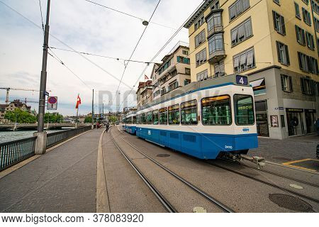 Tram In The City Of Zurich In Switzerland - Zurich, Switzerland - July 15, 2020