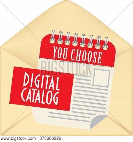 Paper Envelope With Open Flap. Digital Catalog