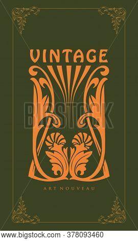 Illustration Ornament Carving Art Nouveau Style Vintage