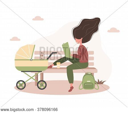 Young Woman Walking With Her Newborn Child In An Yellow Pram. Girl Sitting With A Stroller And A Bab