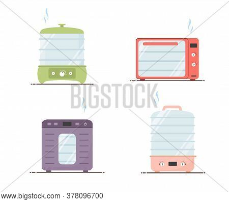 Electric Food Dehydrator. Set Of Dryer Machines. Healthy Diet Concept. Flat Vector Illustration In C