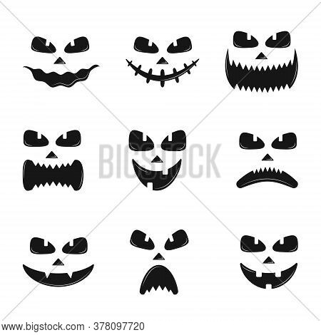 Set Of Pumpkin Faces Silhouette Icons For Halloween Isolated On White Background. Scary Pumpkin Devi