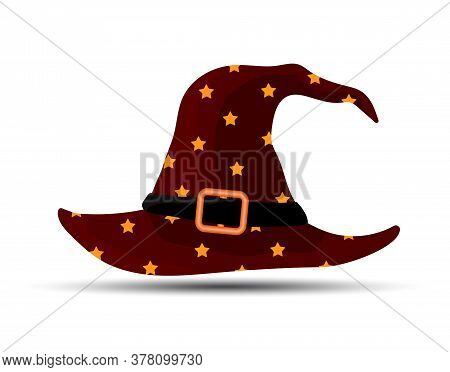 Dark Red Witch And Wizards Hat With Belt And Stars. Halloween Costume. Vector Illustration In Flat S