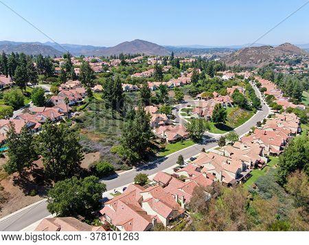 Aerial View Of Residential Neighborhood In Green Valley, Rancho Bernardo, San Diego County, Californ