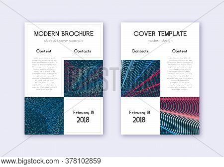 Business Cover Design Template Set. Red White Blue Abstract Lines On Dark Background. Astonishing Co