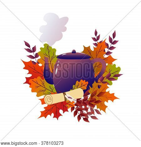 Teapot With Autumn Leaves. Cozy Vector Autumn Illustration Of Teapot With Autumn Leaves. Vector Illu