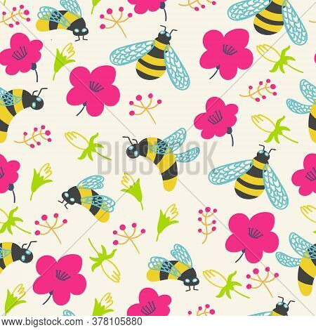 Summer Pattern Flowers And Bumblebee Vector Illustration