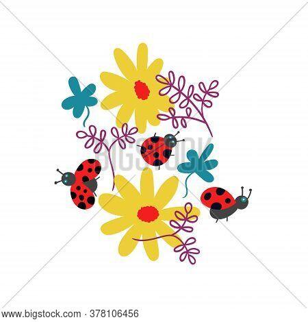 T-shirt Print Ladybugs And Flowers Vector Illuatrtion