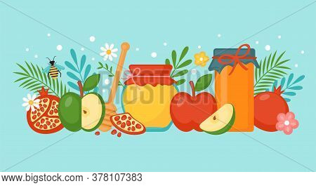 Jewish Holiday Rosh Hashanah Concept With Honey, Apple And Pomegranate. Vector Illustration. Text In