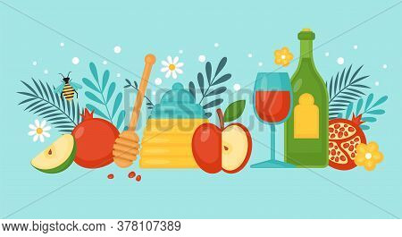 Jewish Holiday Rosh Hashanah Concept With Honey, Apple, Pomegranate And Wine. Vector Illustration.