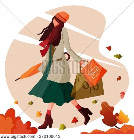 Girl Walks Holding Shopping Bags And Closed Umbrella In Autumn Windy Weather. Concept Pretty And Fas
