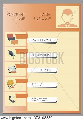 Vector Resume. Summary Template. Design Creative, Professional Background. Displaying Your Profile
