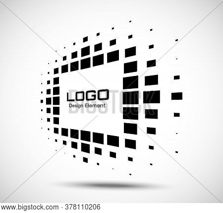 Logo Perspective Frame. Abstract Rectangle Dots Emblem Design Element For Technology. Distort Border