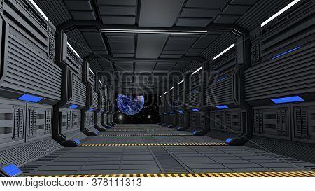 Space Station Corridor And Spacewalk. 3d Rendering