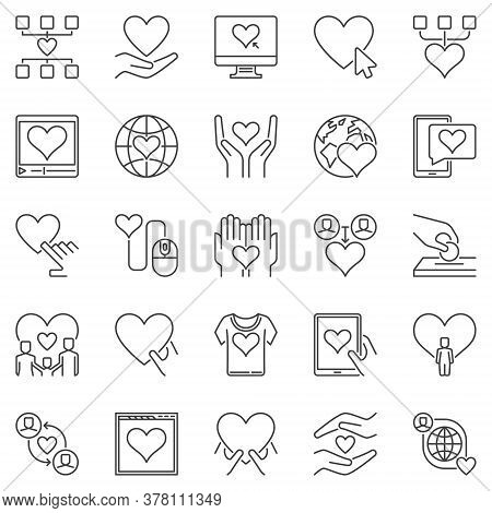 Charity And Donation Outline Icons Set. Vector Donating And People Support Concept Symbols Or Design