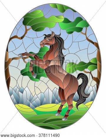 Illustration In Stained Glass Style With Wild Horse On The Background Of Trees, Mountains And Sky, O
