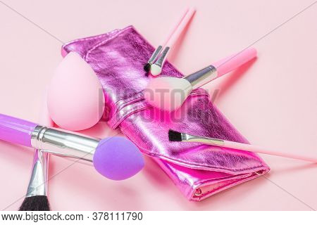Bright Pink Decorative Cosmetics Tools And Accessories For Professional Make Up And Visage On Light