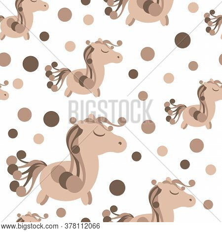 Seamless Pattern With Cute Pony Horse. Chocolate Mane And Tail. Vector Background For Childrens Fabr