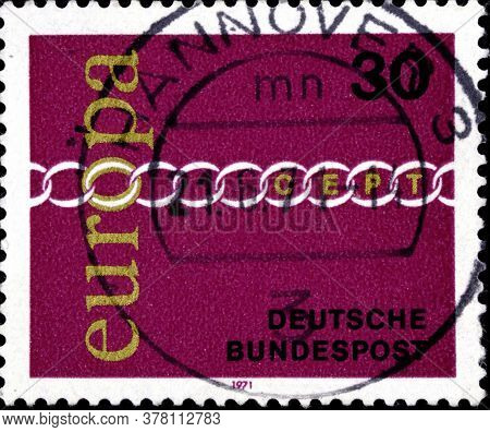 02 09 2020 Divnoe Stavropol Territory Russia The Postage Stamp Of Germany 1971 Europa Stamps Brother