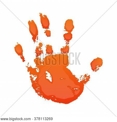 Hand Print 3d Isolated White Background. Orange Paint Human Hands. Silhouette Of Child, Kid, Young P