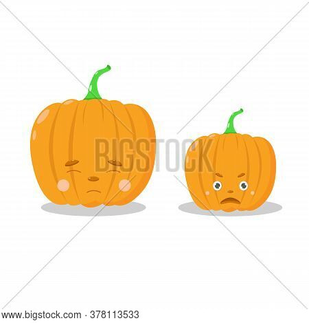 Pumpkin For Halloween, A Cute Orange Pumpkin With Different Emotions. Illustration For A Postcard Or