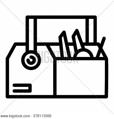 Carpenter Tool Box Icon. Outline Carpenter Tool Box Vector Icon For Web Design Isolated On White Bac
