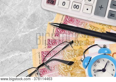 20 Belorussian Rubles Bills And Calculator With Glasses And Pen. Business Loan Or Tax Payment Season