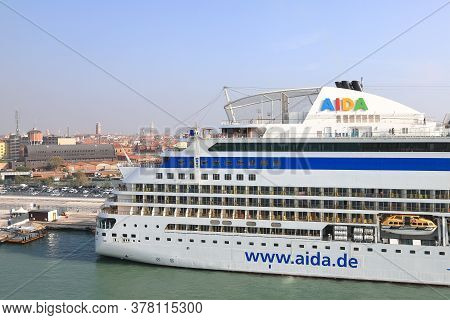 Venice - October 12:  The View Across The Stern Of Cruise Ship Aidablu Towards The Venice Skyline In
