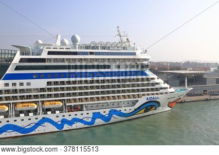 Venice - October12:  The View Across The Bow Of Cruise Ship Aidablu, Towards The Venice Skyline In I