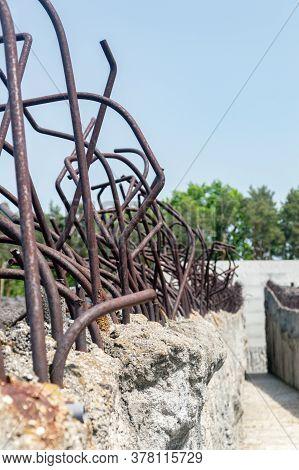 Belzec, Poland - June 12, 2020: Detail Of Memorial At Belzec Extermination Camp Memorial.