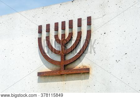Belzec, Poland - June 12, 2020: Symbolic Menorah At Memorial Site Of Former Nazi German Exterminatio
