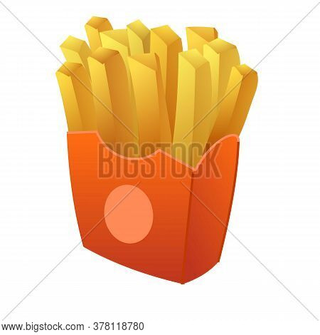 French Potato Fries Icon. Cartoon Of French Potato Fries Vector Icon For Web Design Isolated On Whit