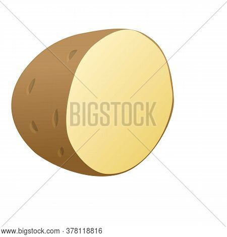 Half Potato Icon. Cartoon Of Half Potato Vector Icon For Web Design Isolated On White Background