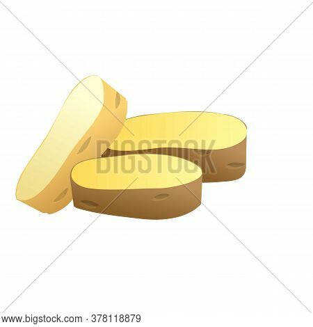 Potato Pieces Icon. Cartoon Of Potato Pieces Vector Icon For Web Design Isolated On White Background