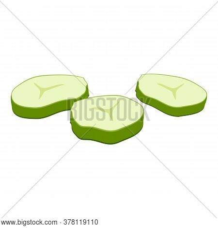 Cutted Burger Cucumber Icon. Cartoon Of Cutted Burger Cucumber Vector Icon For Web Design Isolated O