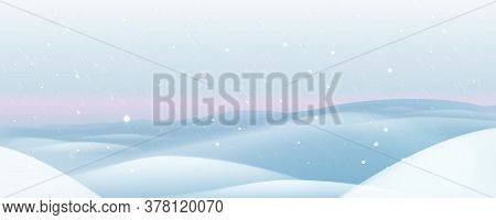 Winter Background. Winter Landscape With Snow. Vector Winter Illustration.