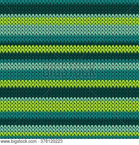 Cool Horizontal Stripes Knitting Texture Geometric Vector Seamless. Ugly Sweater Stockinet Ornament.